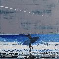 Summer Surfer and Plane Trail, Cornwall.